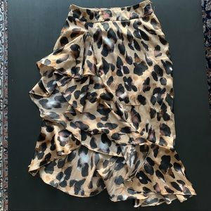 Nasty Gal Leopard Print Midi Skirt